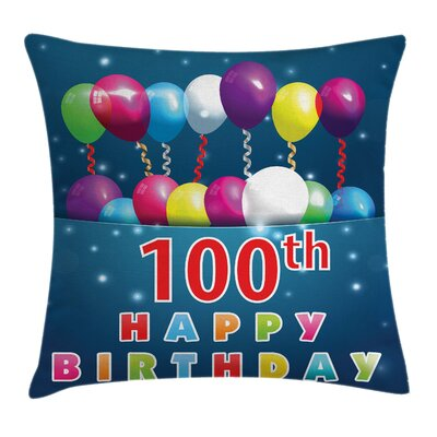 Balloons on Star Like Dots Square Pillow Cover Size: 16 x 16