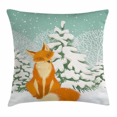 Fox Fox Winter Forest Xmas Square Pillow Cover Size: 16 x 16