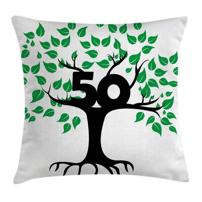 Tree Number Fifty Growth Age Pillow Cover Size: 16 x 16