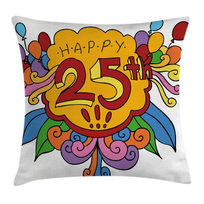 Cartoon Floral Balloon Square Pillow Cover Size: 16 x 16