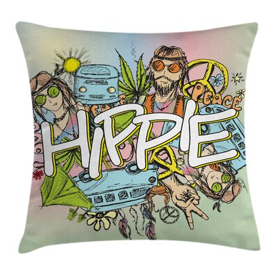 Hippie Man Woman Peace Symbol Pillow Cover Size: 18 x 18