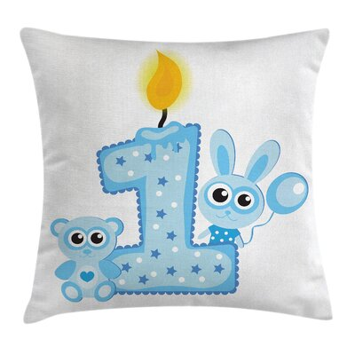 Birthday Boys Party Cake Candle Square Pillow Cover Size: 16 x 16