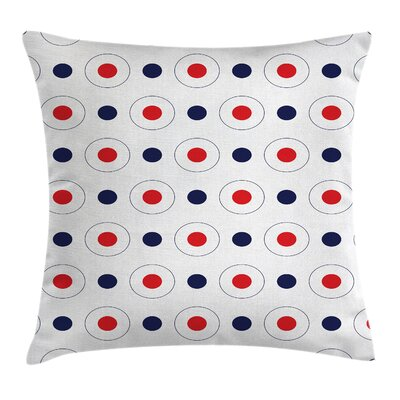 Retro Old Pop Art Dots Circles Square Pillow Cover Size: 16 x 16