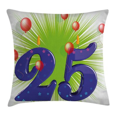 Party Funky Twenty Five Stars Square Pillow Cover Size: 16 x 16