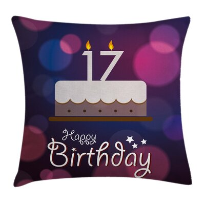 Seventeen Party Cake Square Pillow Cover Size: 20 x 20