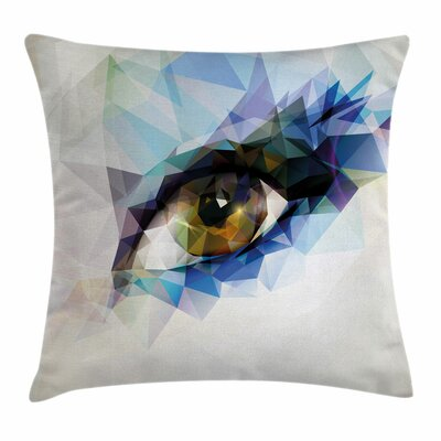 Eye Polygonal Effects Modern Square Pillow Cover Size: 16 x 16