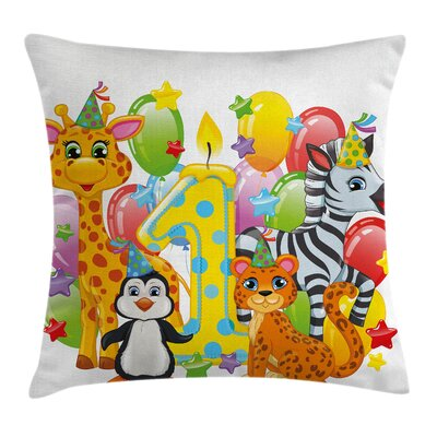 Colorful Safari Animal Birthday Square Pillow Cover Size: 18 x 18