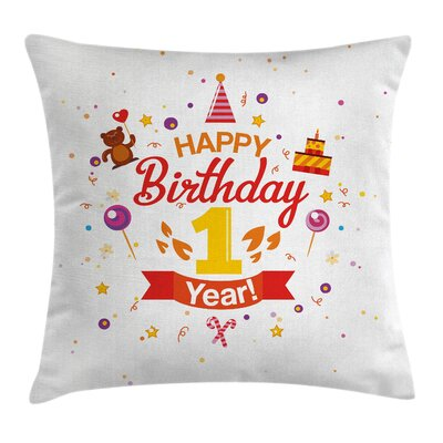 Birthday Party with Cones Bear Square Pillow Cover Size: 16 x 16