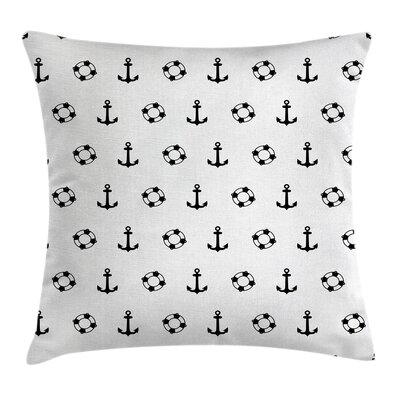 Nautical Anchors and Lifebuoys Pillow Cover Size: 24 x 24