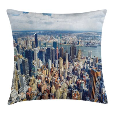 Urban Manhattan USA Aerial View Pillow Cover Size: 16 x 16