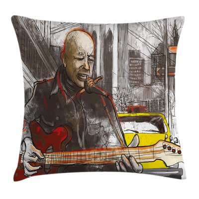 Urban Street Musician Singing Pillow Cover Size: 24 x 24
