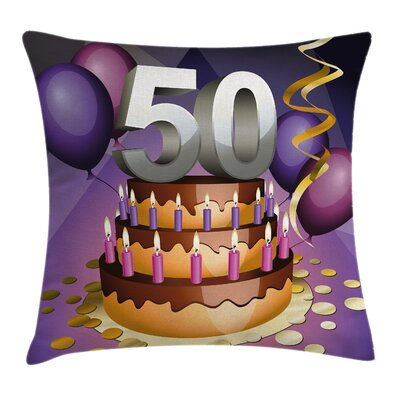 Festive Birthday Cake Candles Pillow Cover Size: 18 x 18