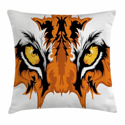 Eye Tiger Bengal Cat African Square Pillow Cover Size: 18 x 18