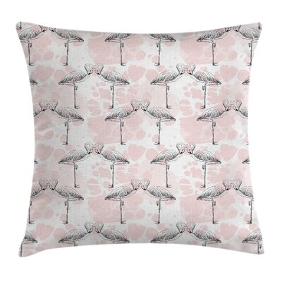 Flamingo Hearts Love Valentines Pillow Cover Size: 24 x 24