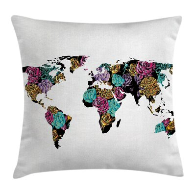 Shabby Elegance World Map Flowers Pillow Cover Size: 18 x 18