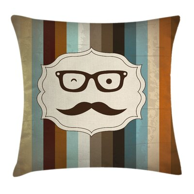 Funny Man Moustache Glasses Pillow Cover Size: 18