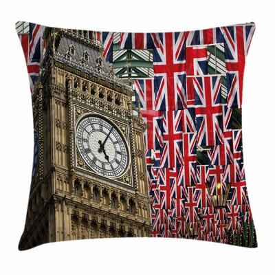 Union Jack UK Flags Festive Square Pillow Cover Size: 18