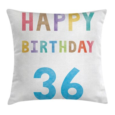 Birthday Party Quote Square Pillow Cover Size: 18 x 18