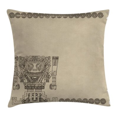 Native American Mayan Relic Pillow Cover Size: 18 x 18