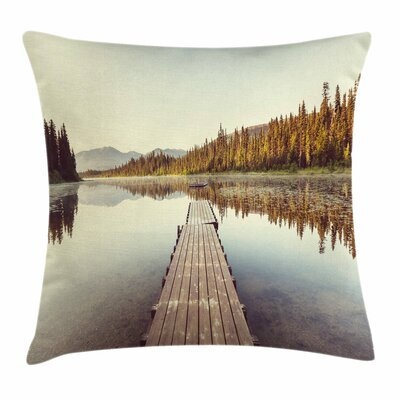 Fall Decor Wooden Pier on Lake Square Pillow Cover Size: 16 x 16