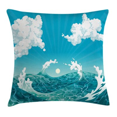 Ocean Foamy Waves Fluffy Clouds Pillow Cover Size: 24 x 24