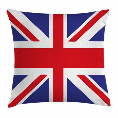 Union Jack British Loyal Symbol Square Pillow Cover Size: 18 x 18