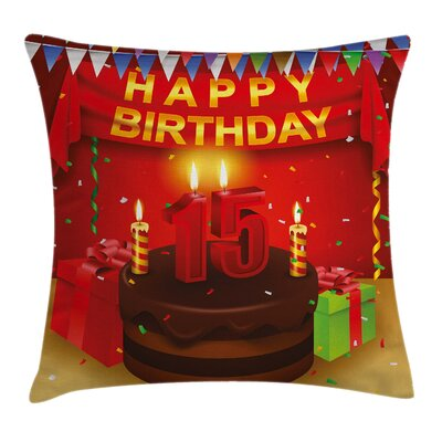 Birthday Teenage Party Set Up Square Pillow Cover Size: 16 x 16