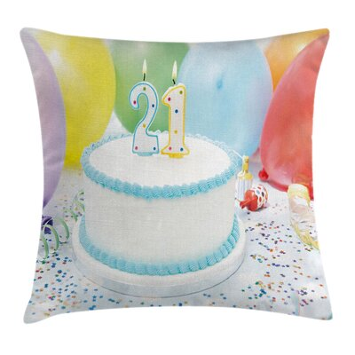 Birthday Ballons Party Pillow Cover Size: 16 x 16