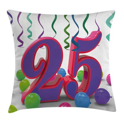 Fun Birthday Party Elements Square Pillow Cover Size: 24 x 24