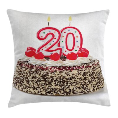 Colorful Birthday Party Cake Square Pillow Cover Size: 18 x 18