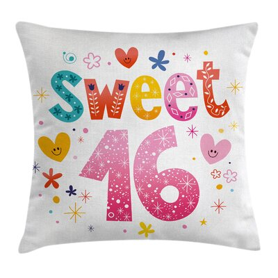 Cute Hearts Flowers Square Pillow Cover Size: 20 x 20