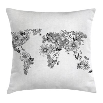 Earth Butterflies Continents Pillow Cover Size: 24 x 24