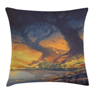 Fantasy Big Tree Huge Roots Art Pillow Cover Size: 24 x 24