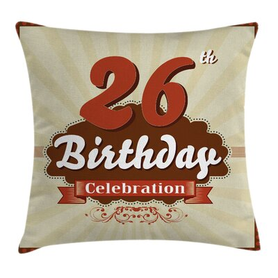 Vintage Pop Art Old Celebration Square Pillow Cover Size: 24 x 24