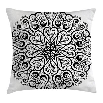Mandala Indian Cosmos Symbol Pillow Cover Size: 24 x 24