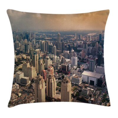 Asian Aeriel View of Bangkok Pillow Cover Size: 20 x 20