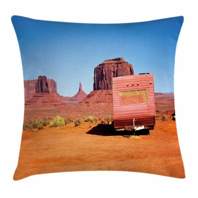Primitive Country Van in Desert Square Pillow Cover Size: 24 x 24