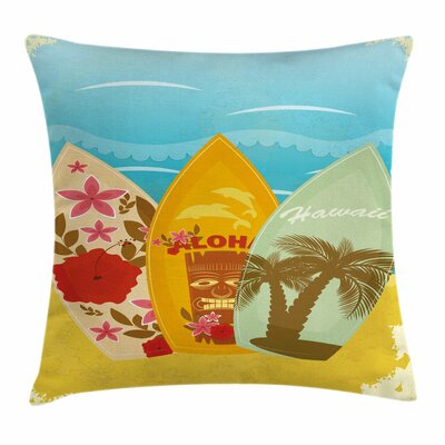 Tiki Bar Decor Surfboard Exotic Square Pillow Cover Size: 16 x 16