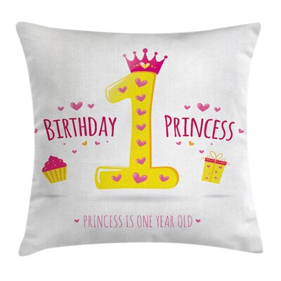 Birthday Princess Theme Party Square Pillow Cover Size: 24 x 24