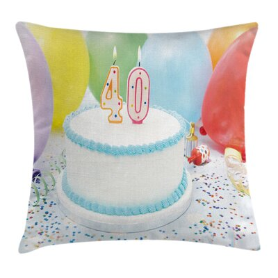 Birthday Joyful Party and Cake Pillow Cover Size: 18 x 18