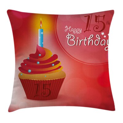 Yummy Cupcake with Candle Square Pillow Cover Size: 18 x 18