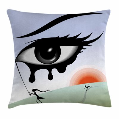 Eye Surreal Avant Garde Art Square Pillow Cover Size: 16 x 16