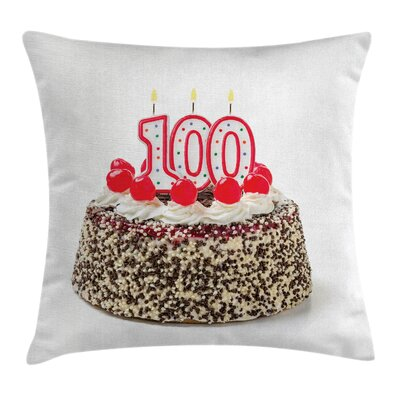 Colorful Party Cake and Candles Square Pillow Cover Size: 24 x 24