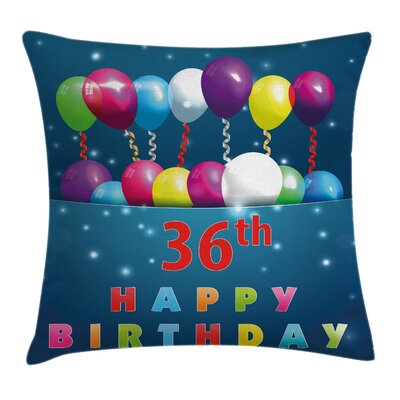 Party Balloons Celebration Square Pillow Cover Size: 16 x 16