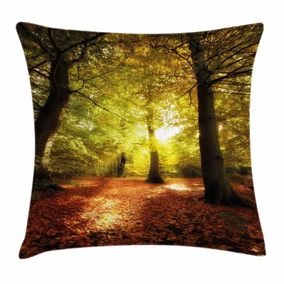Fall Decor Blurry Forest Dreamy Square Pillow Cover Size: 24 x 24