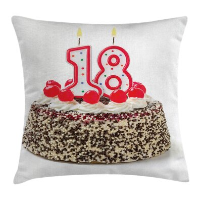 Birthday Sweet Eighteen Party Square Pillow Cover Size: 18 x 18