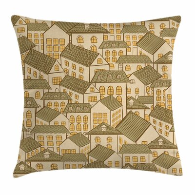 Retro Village Town Houses Roofs Square Pillow Cover Size: 16 x 16