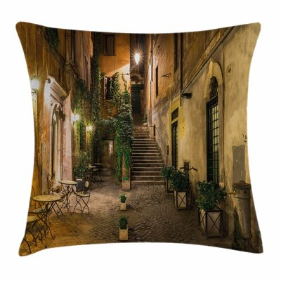 Italian Decor Old Cafe in Rome Square Pillow Cover Size: 24 x 24