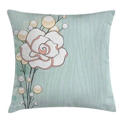 Flower Romantic Rose Pearls Pillow Cover Size: 16 x 16