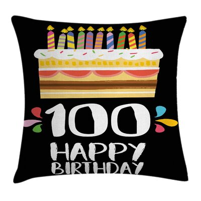 Colorful Party Cake Candles Square Pillow Cover Size: 16